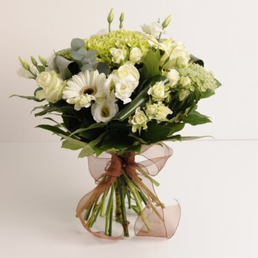 English country hand-tied bouquet fresh flowers white green foliage