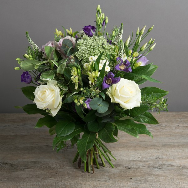 Roses, Purple, White, Veronica, mixed green foliage, fresh