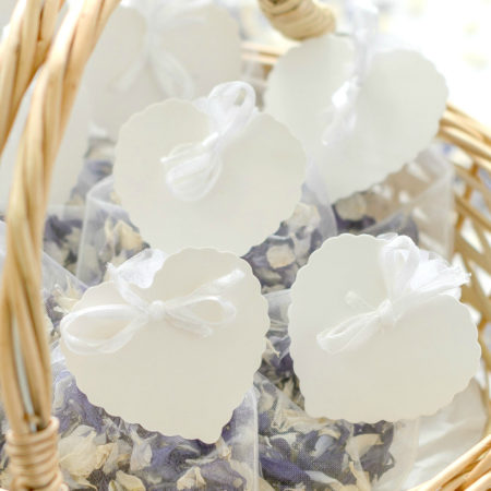 WEDDING CONFETTI DELPHINIUM PETAL SET OF TEN ORGANZA BAGS