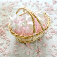 WEDDING FLOWER GIRL BASKET OF PINK NATURAL CONFETTI ROSE PETAL SET OF 10 ORGANZA BAGS