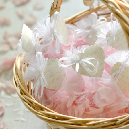 WEDDING FLOWER GIRL BASKET OF PINK NATURAL CONFETTI ROSE PETAL SET OF ten ORGANZA BAGS