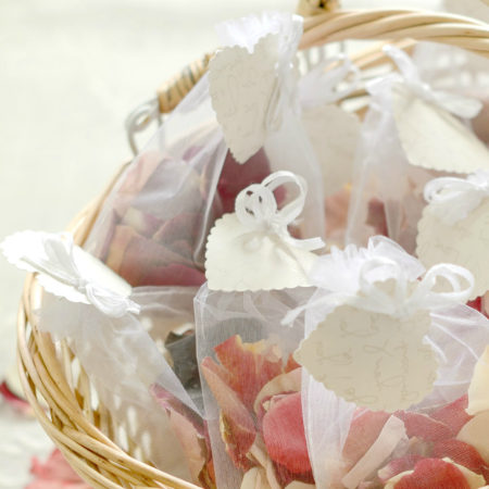 WEDDING FLOWER GIRL BASKET OF RED & IVORY NATURAL CONFETTI ROSE PETAL SET OF TEN ORGANZA BAGS