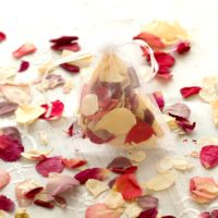 WEDDING RED & IVORY NATURAL CONFETTI ROSE PETAL SET OF 10 ORGANZA BAGS