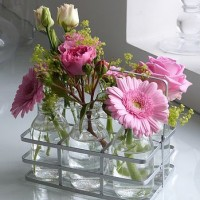Flower Bottles of Pink Garden Roses & Blooms