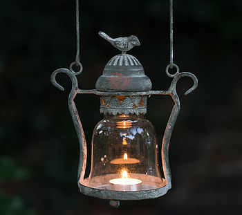 antique style hanging love bird metal lantern
