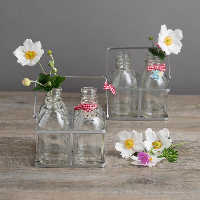 Bottles ~ Vintage Style Four Mini Milk Bottles