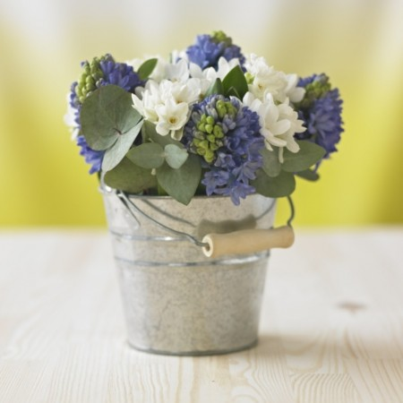 Bouquet of Blue & White Spring Flowers In Little Bucket