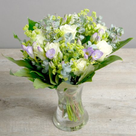 WHITE ROSE & LILAC FREESIA FRAGRANT FRESH FLOWER BOUQUET