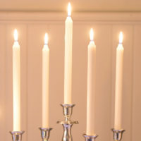SILVER WEDDING CANDELABRA WITH RUSTIC CANDLES