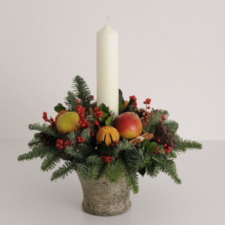 Festive Flower Pot Candle Decoration
