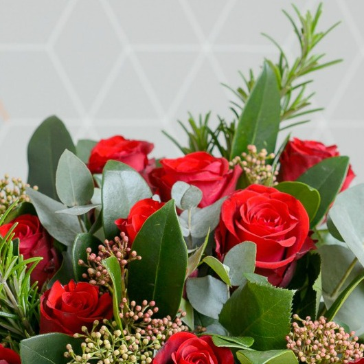 12 RED ROSES, SKIMMIA & ROSEMARY VALENTINE BOUQUET