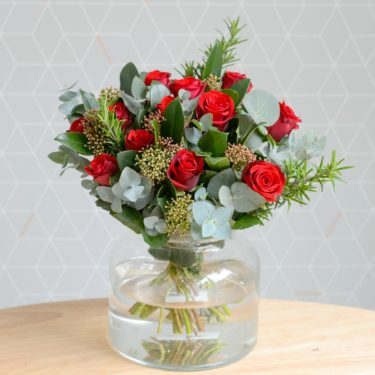 DIRTY DOZEN RED ROSE VALENTINE BOUQUET