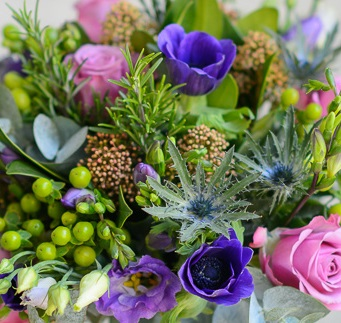 Bouquet Of Amethyst Spring Flowers & Herbs