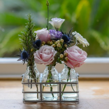 Pink Roses & Garden Herb Flowers In Mini Vintage Bottles