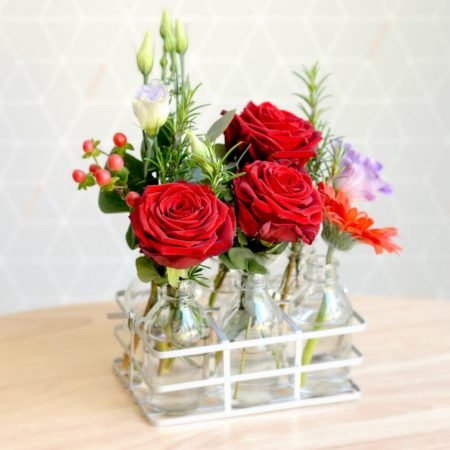 THE LADY LOVES RED ROSES FLOWER BOTTLES