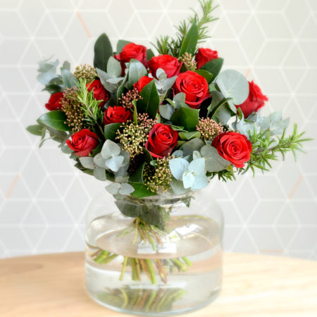 red rose & herb bouquet
