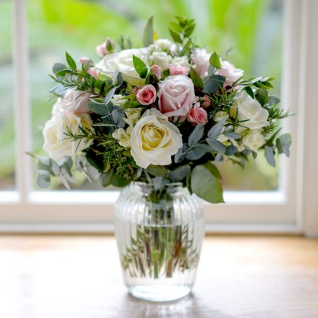 ANTIQUE BLUSH ROSE & HERB BOUQUET