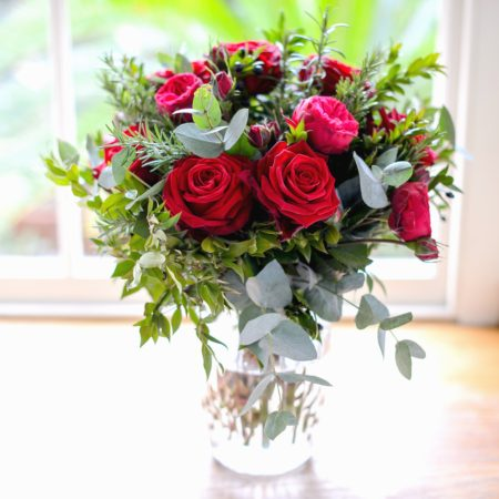 valentine garden red rose & herb bouquet