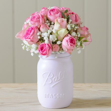 POWDER PUFF PINK VINTAGE MASON JAR