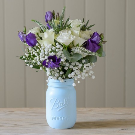 _mason flower jar parisian blue