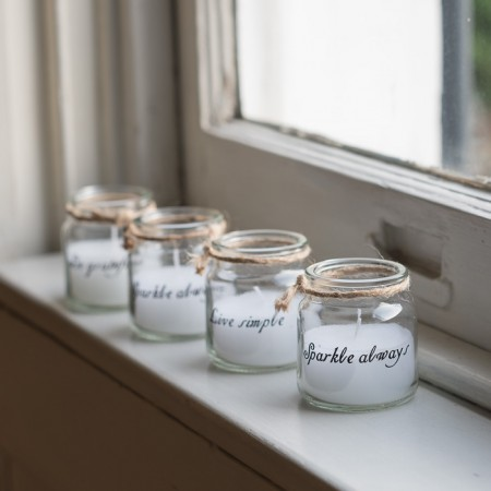 _little quote candle jars