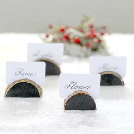 rustic wooden place name holders