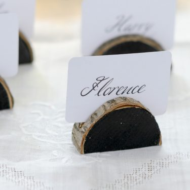woodland slice name card holder set of 4