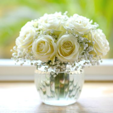 CUPID WHITE ROSE & GYP FLOWER POSY
