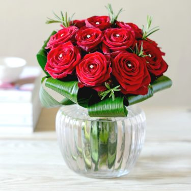 DIAMONDS ARE FOREVER RED ROSE POSY