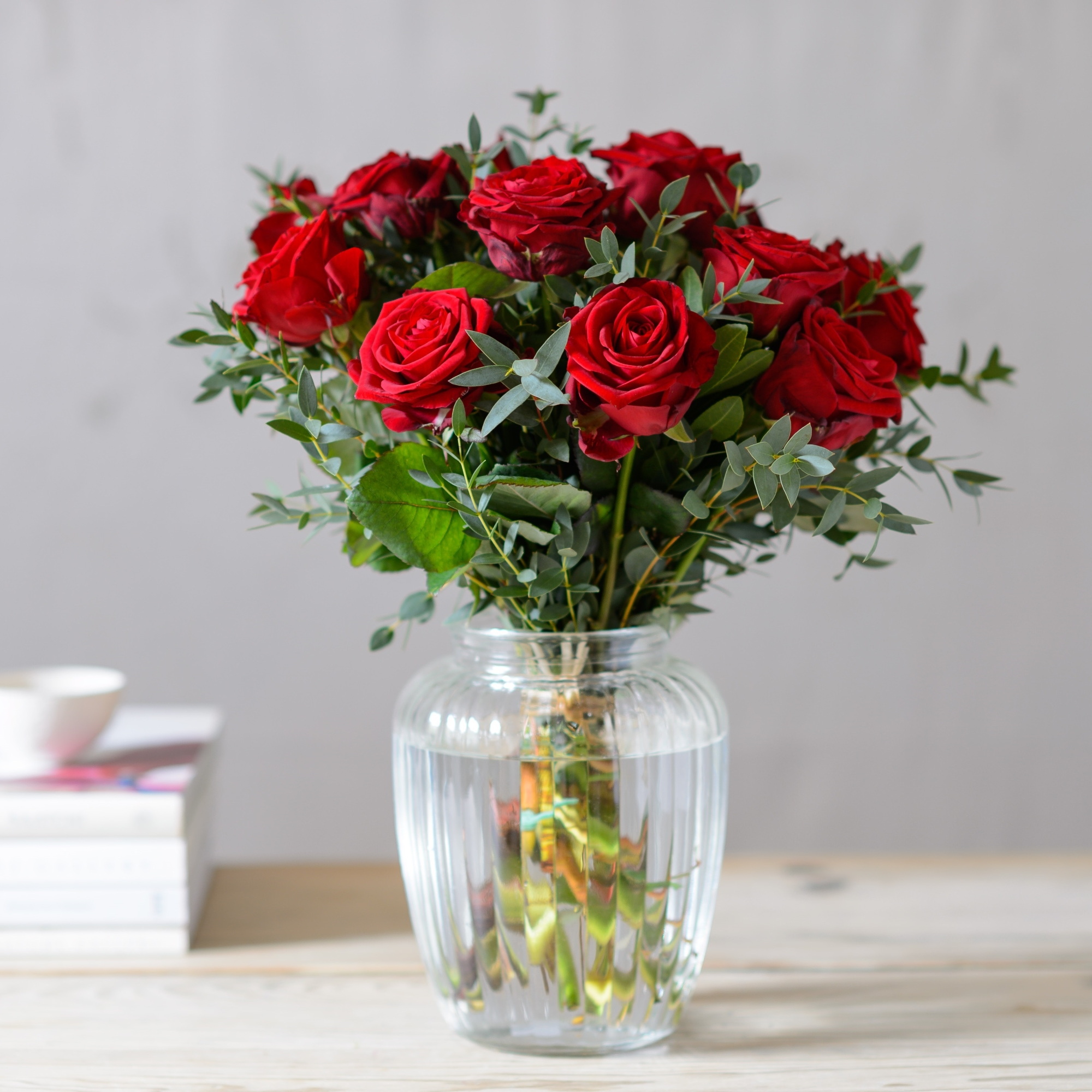 Romantic collection lovers lane red rose bouquet flower studio shop - Red garden rose bouquet ...
