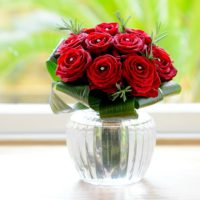 diamonds & red roses valentine posy