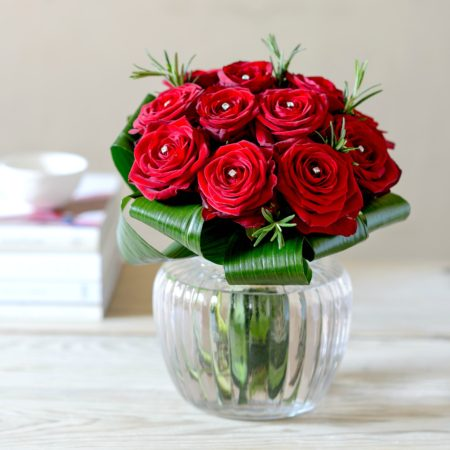 diamonds & roses red rose posy