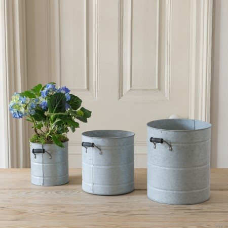 _set of three zinc buckets