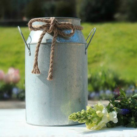 RUSTIC LARGE FRENCH STYLE MILK CHURN VASE WITH ROPE DETAIL