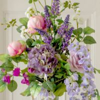 ARTIFICIAL LILAC & PINK COUNTRY GRDEN FLOWERS