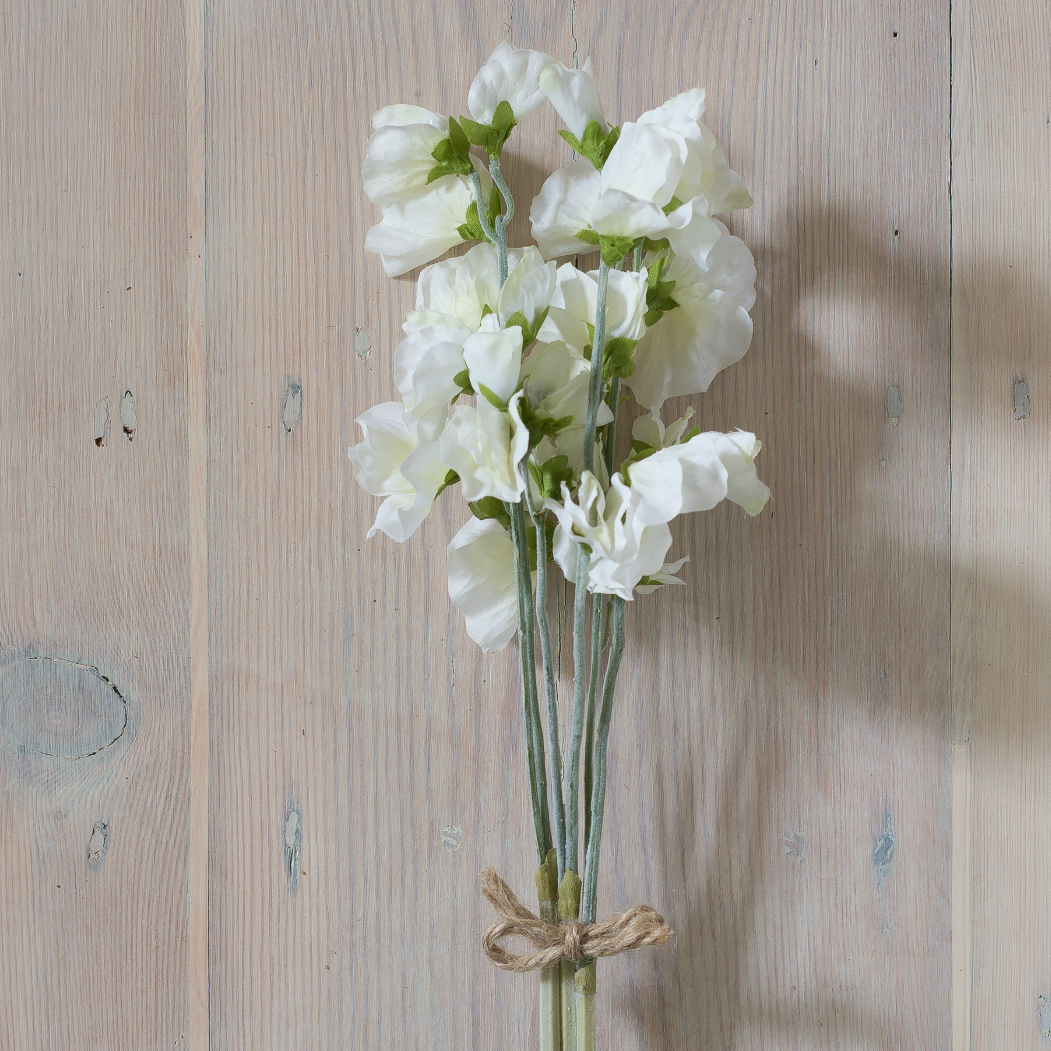 Faux stem sweet pea white flower bunch of 3 flower studio shop mightylinksfo