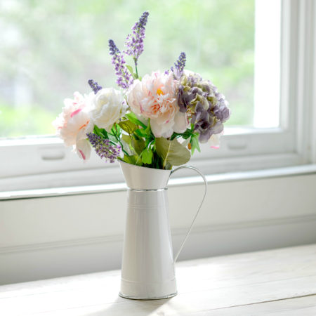 ARTIFICIAL PEONY, ROSE & HYDRANGEA ARRANGEMENT WITH VASE