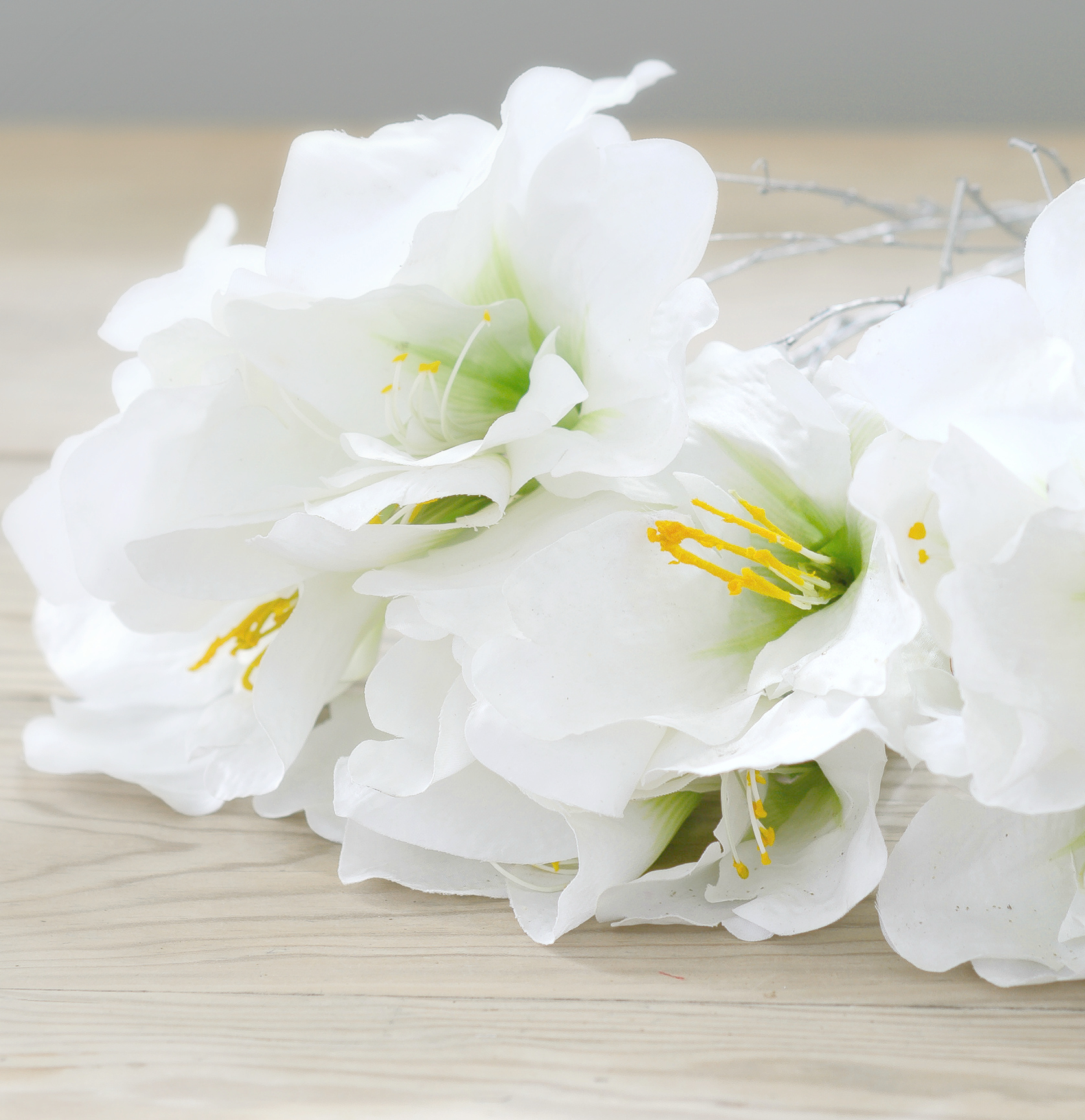 Faux Flower Artificial White Amaryllis Bunch Flower Studio Shop
