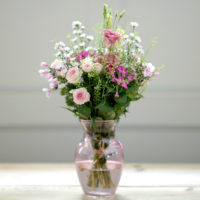 SPRING PINKS FLOWER BUNCH WITH HAND TIE VASE