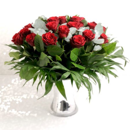 24 decadent red rose bouquet