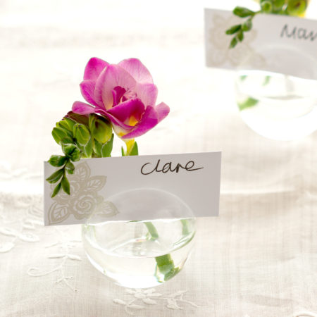3 WEDDING NAMECARD LITTLE GLASS BUD VASES
