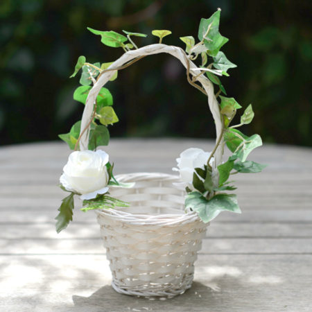 ARTIFICIAL ROSE & IVY FLOWER GIRL WICKER BASKET