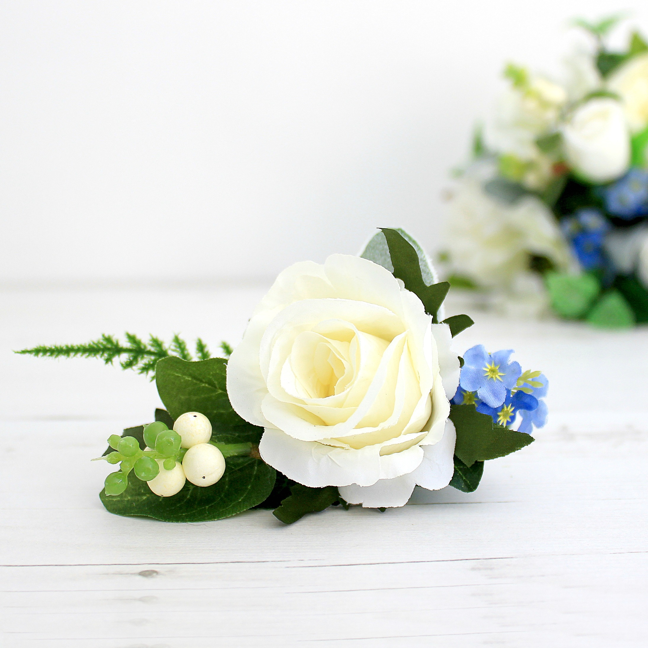 Faux flowers for get me not white rose boutonniere flower faux flowers for get me not white rose boutonniere freerunsca Image collections