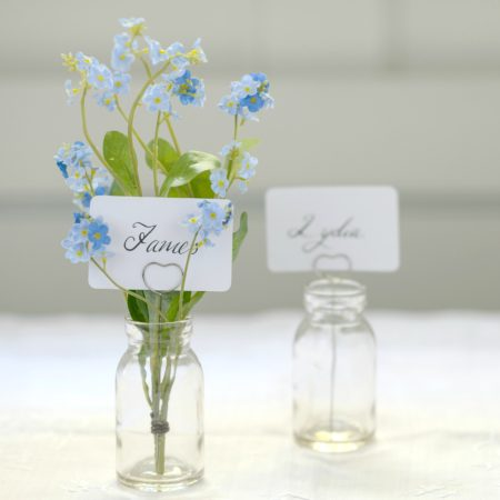 HEART & BUD VASE NAMECARD HOLDER SET OF TWO