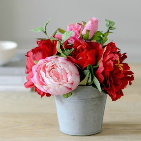 LITTLE BUCKET OF ARTIFICIAL PINK PEONY & RED ROSES