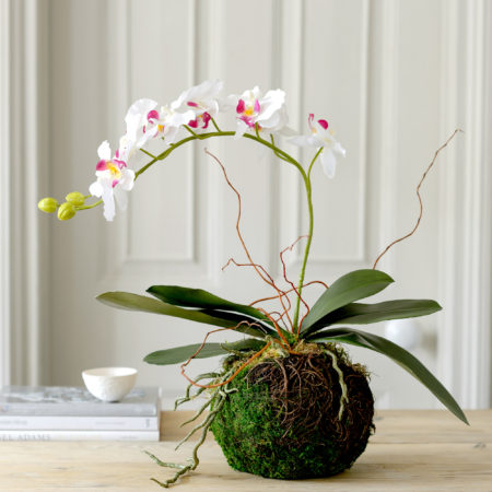 LUXURY ARTIFICIAL ORCHID MOSS BALL
