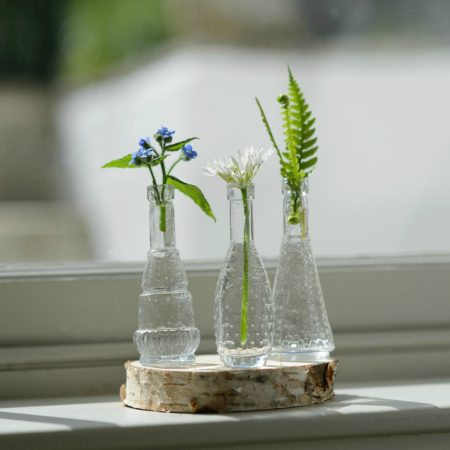 MINATURE VINTAGE GLASS BUD VASES SET OF 3