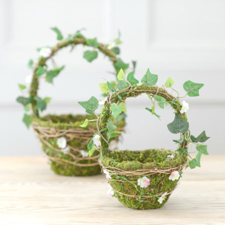 MOSS 7 DAISY FLOWER GIRL BASKETS