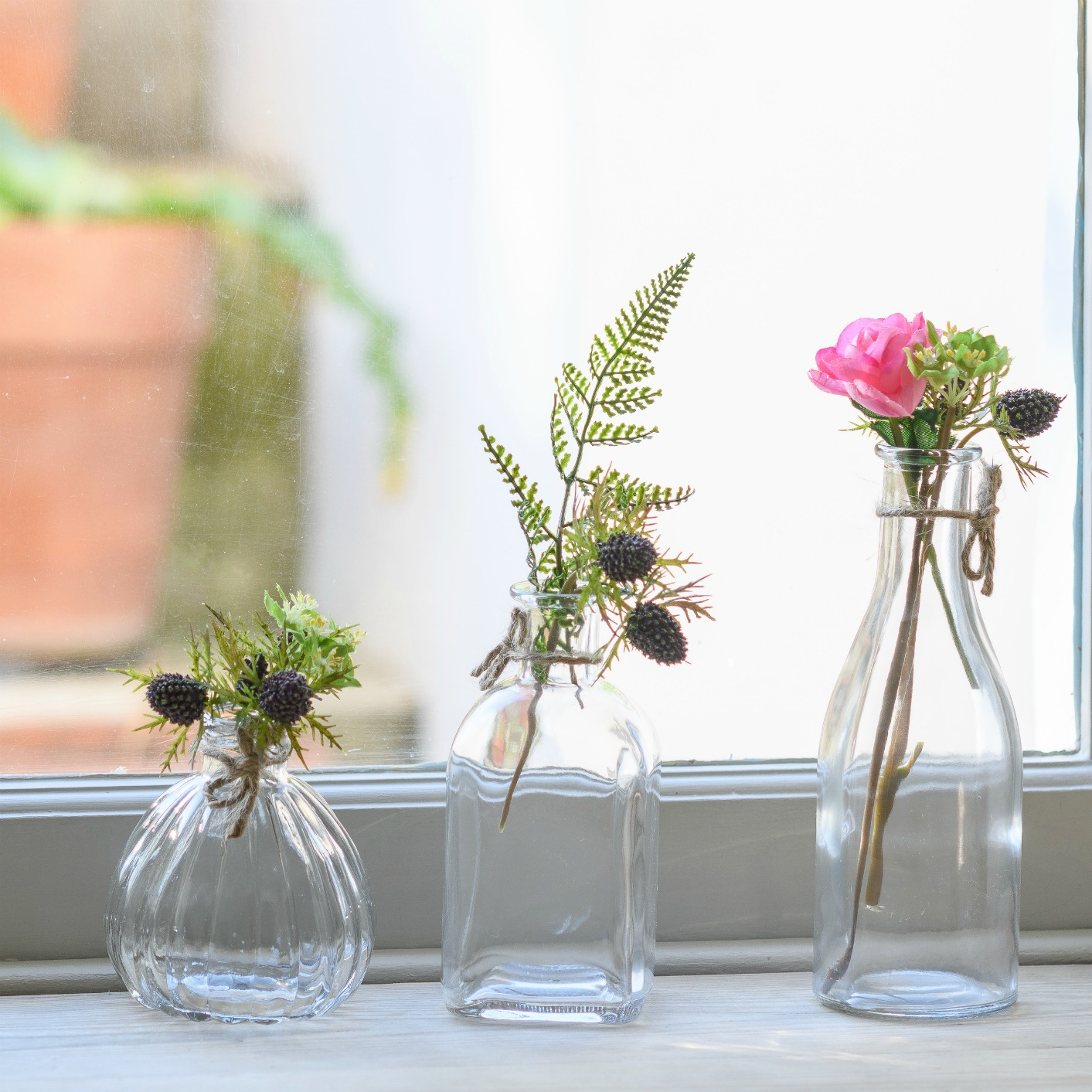 Bottles retro glass flower bud vases studio shop
