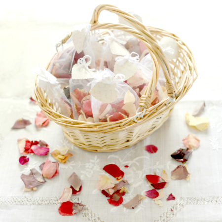 WEDDING FLOWER GIRL BASKET OF RED & IVORY NATURAL CONFETTI ROSE PETAL SET OF 10 ORGANZA BAGS
